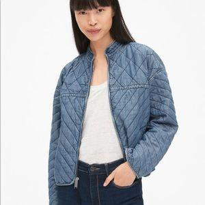 Gap quilted denim zip-front jacket in tencel sz.s